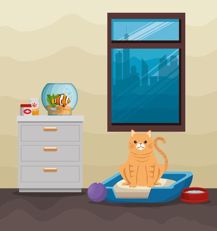 Bowl aquarium with fish and cat vector illustration design. Illustration