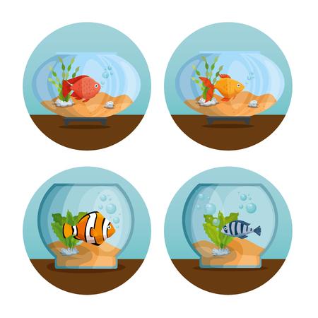 美しい水族館のアイコンベクトルイラストデザインを設定します