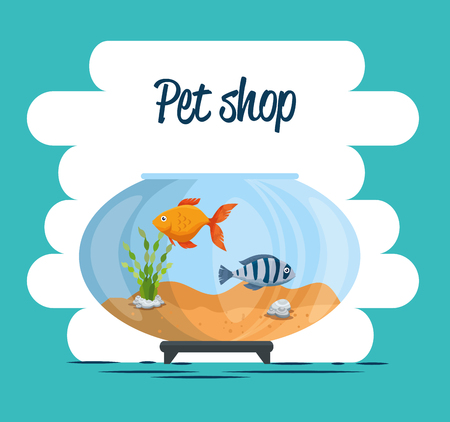 bowl aquarium with fish vector illustration design