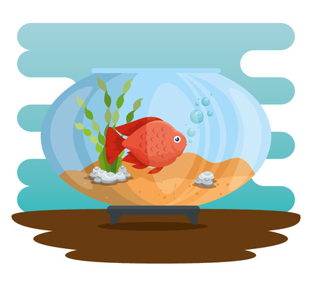 Bowl aquarium with fish vector illustration design. Standard-Bild - 97145016