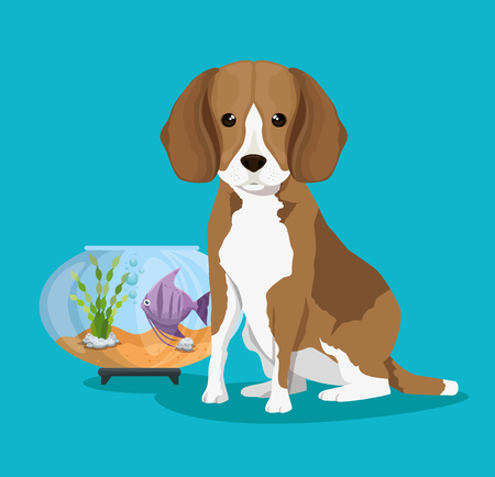 bowl aquarium with fish and dog vector illustration design Çizim
