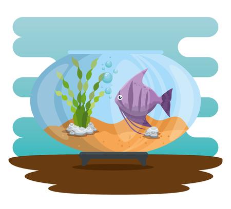 Bowl aquarium with fish vector illustration design. 스톡 콘텐츠 - 97145022