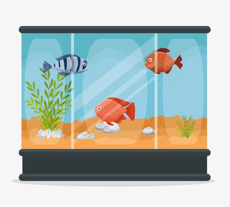 Beautiful aquarium with fish vector illustration design.