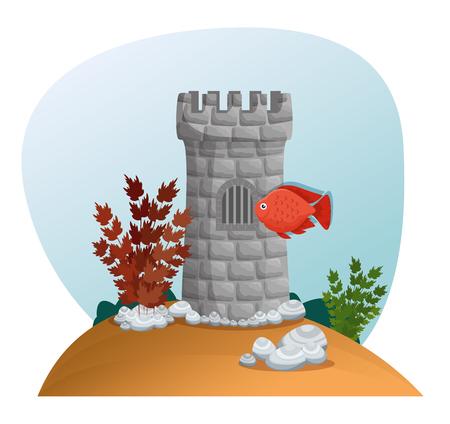 Schönes Aquariumszenenikonenvektor-Illustrationsdesign. Standard-Bild - 97145034