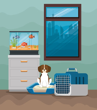 Beautiful aquarium with fish and dog vector illustration design Stock Illustratie