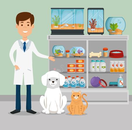 Veterinarian with animals character vector illustration design