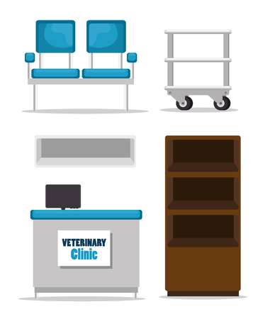 Veterinary clinic equipment set vector illustration design Stock Illustratie