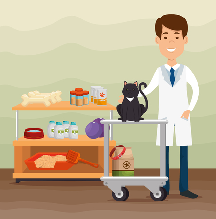 A veterinary doctor with mascot character vector illustration design
