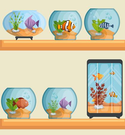 A set beautiful aquariums icons vector illustration design Ilustrace