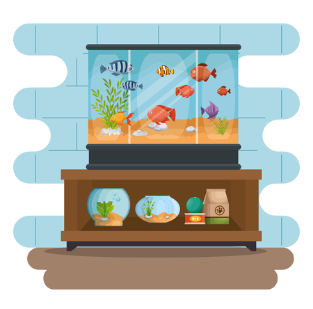 A set beautiful aquariums icons vector illustration design Vettoriali