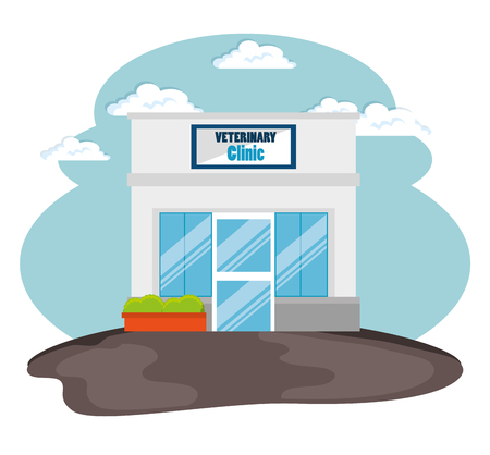 A veterinary clinic front facade vector illustration design