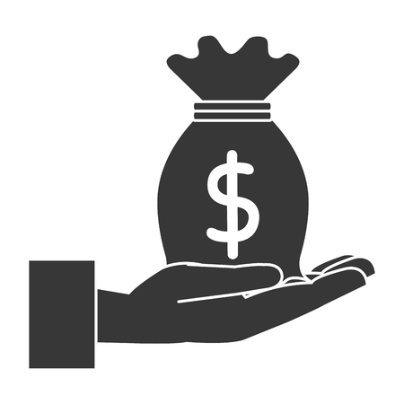 A hand with money bag isolated icon vector illustration design