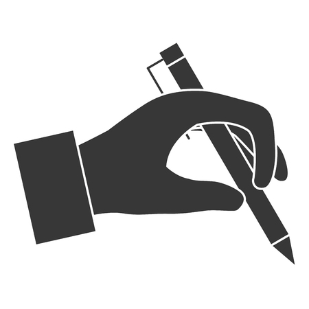 A hand writer with pen isolated icon vector illustration design