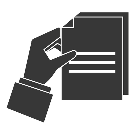 A hand human with paper document vector illustration design Stock Illustratie