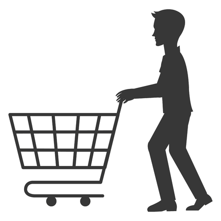 A young man with shopping cart vector illustration design Illustration