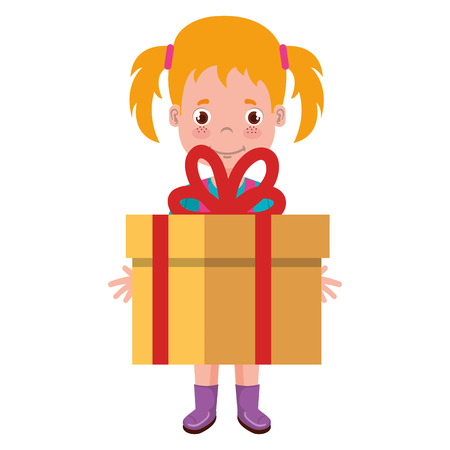 A girl with gift character vector illustration design Illustration