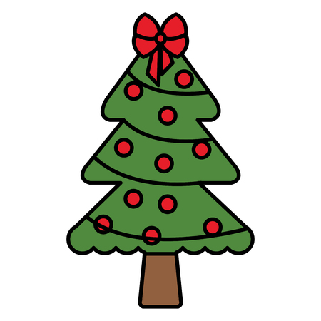 A christmas pine tree with decoration vector illustration design