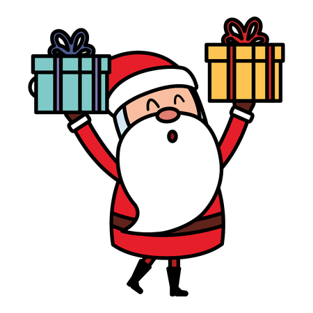 cute santa claus with gift comic character vector illustration design Vettoriali