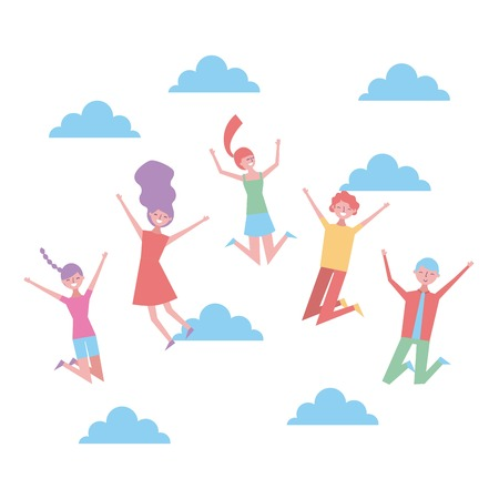 group of young smiling people jumping over sky vector illustration Illustration