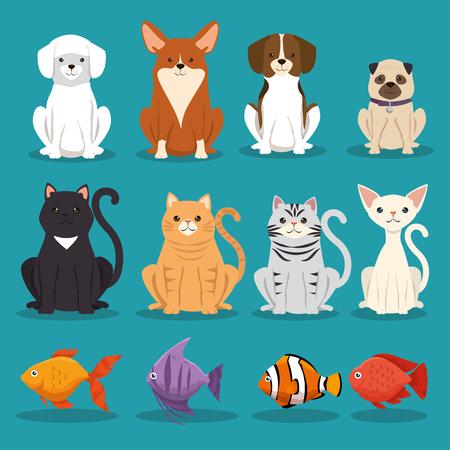 Perros, gatos y peces, mascotas, personajes, ilustración vectorial de diseño Ilustración de vector