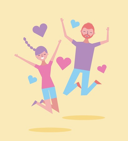 couple happy smiling jump enjoy cartoon heart decoration vector illustration