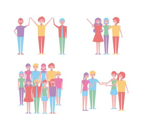 set of people characters community friends partnerships vector illustration