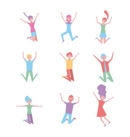 set of people happy jumping enjoying characters vector illustration Illustration