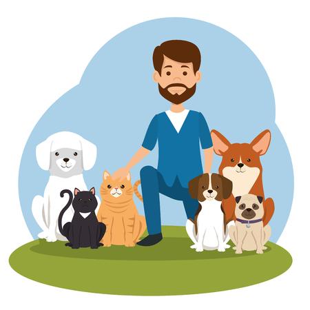 Médico veterinario con diseño de ilustración de vector de personaje de mascota Ilustración de vector
