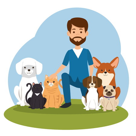 veterinary doctor with mascot character vector illustration design
