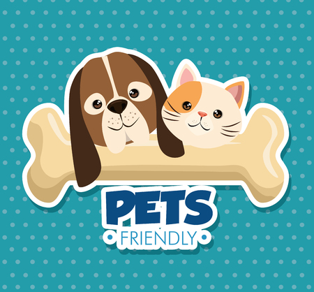 dog and cat with bone cute mascots vector illustration design