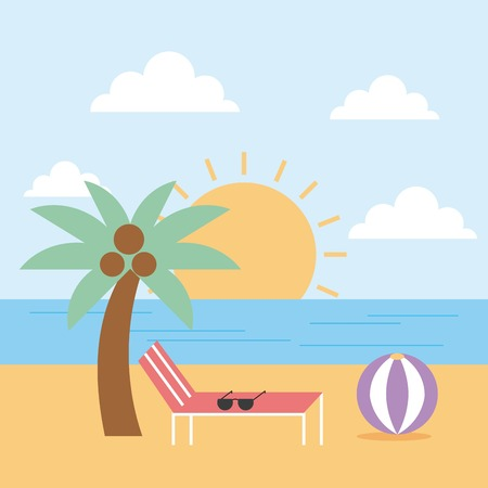 beach sea palm ball summer landscape vector illustration