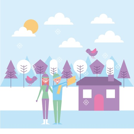 people couple making selfie in winter house trees vector illustration Ilustrace