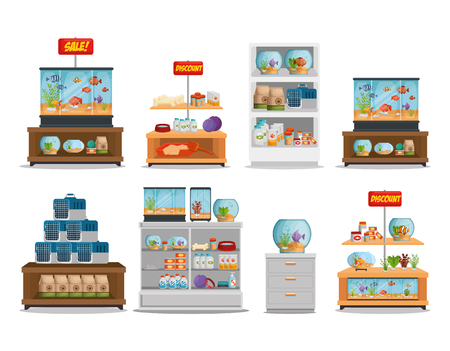 veterinary store shelvings set vector illustration design