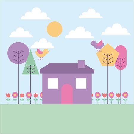Paysage printemps maison arbre oiseaux fleurs couleur pastel illustration vectorielle Vecteurs