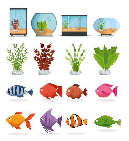 set beautiful aquariums icons vector illustration design Vettoriali