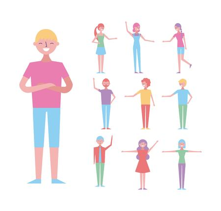 young man folded arms and group people characters vector illustration