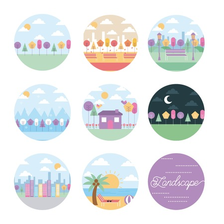 collection landscape spring winter autumn night vector illustration