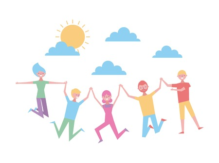 people holding hands cartoon happy jumping in heaven vector illustration