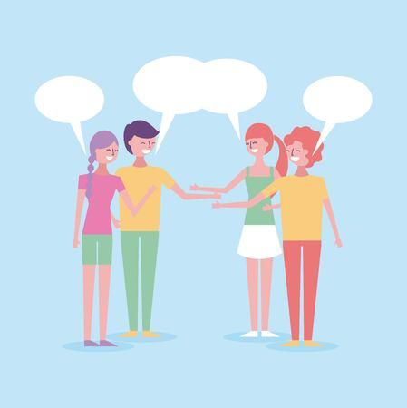 people avatar with speech bubble dialog conversation vector illustration
