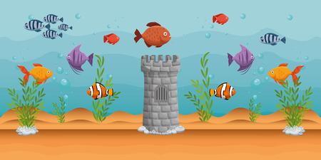 beautiful aquarium scene icon vector illustration design