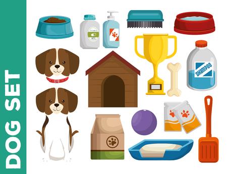 Progettazione stabilita dell'illustrazione di vettore delle icone del cane del negozio di animali