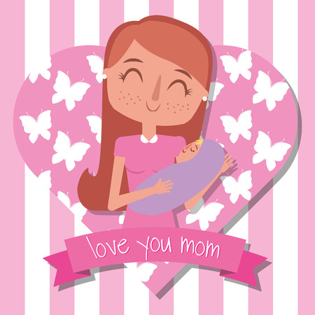 love mom holding baby in her arms - mothers day vector illustration