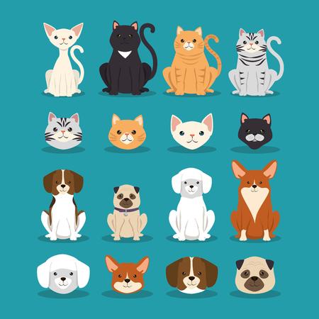 Honden en katten huisdieren tekens vector illustratie ontwerp