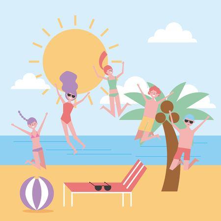 people jumping enjoying beach summer landscape vector illustration Illustration
