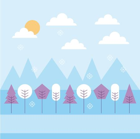 winter landscape snowfall mountains trees sky vector illustration