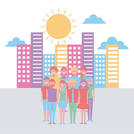 cartoon group of young people in the city sky  background vector illustration