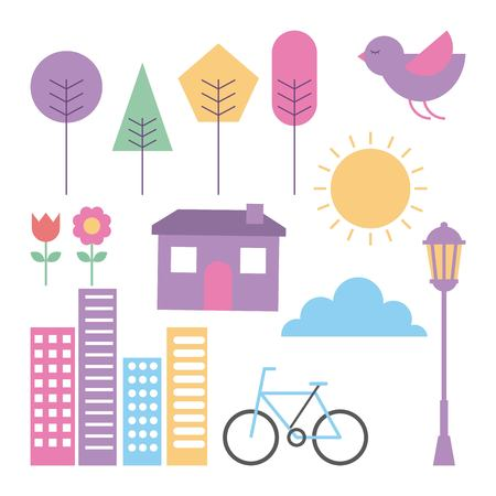 set of landscape elements house tree bike buildings cloud sun flower vector illustration Иллюстрация