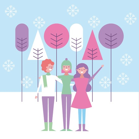 A people friends women embraced with winter clothes vector illustration