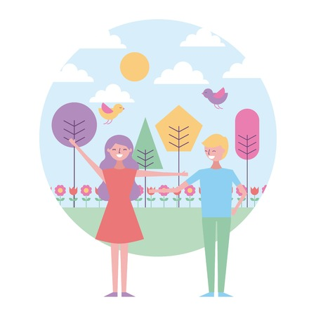 smiling couple standing in spring landscape birds trees vector illustration Ilustrace