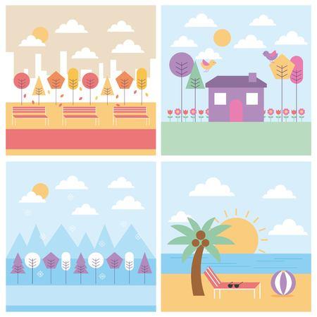 set of different season weather landscape vector illustration Ilustração